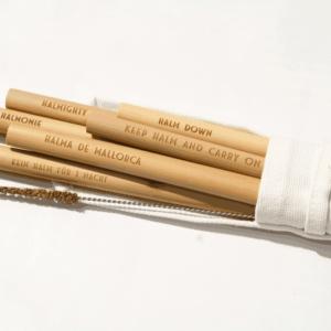 Unsere Bambusstrohhalme inkl. Reinigunsbürste und Aufbewahrungstasche